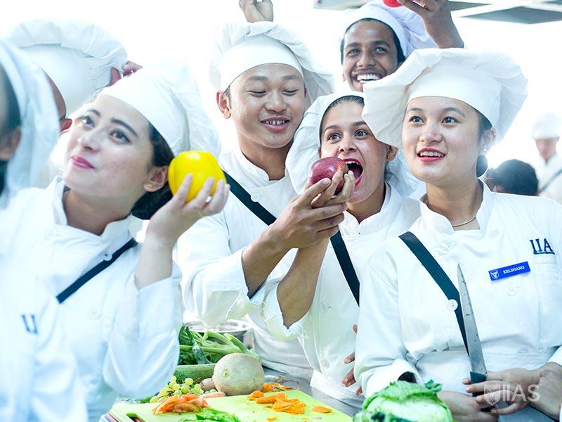 Culinary Arts students in IIAS Siliguri having fun during practical class