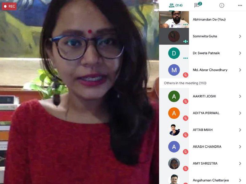 Screenshot of Webinar using Google Meet organised by IIAS School of Management with Ms. Somrwita Guha